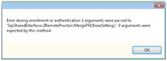 Error during enrolment or authentication