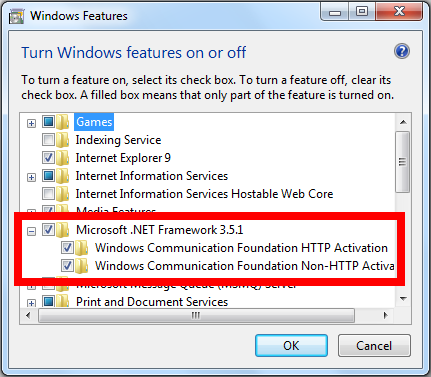 Windows Features with .NET Framework expanded