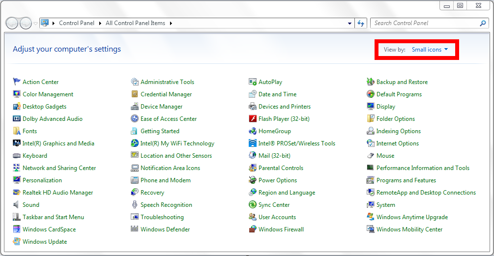 Win7 Small Icon View